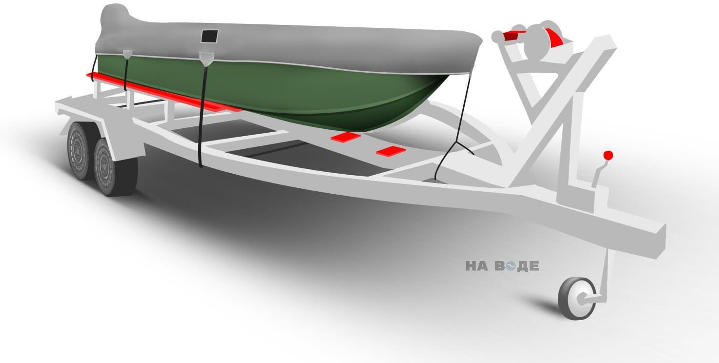 Транспортировочный тент на лодку Тактика 370 комплектация C накрытием мотора - фото 1