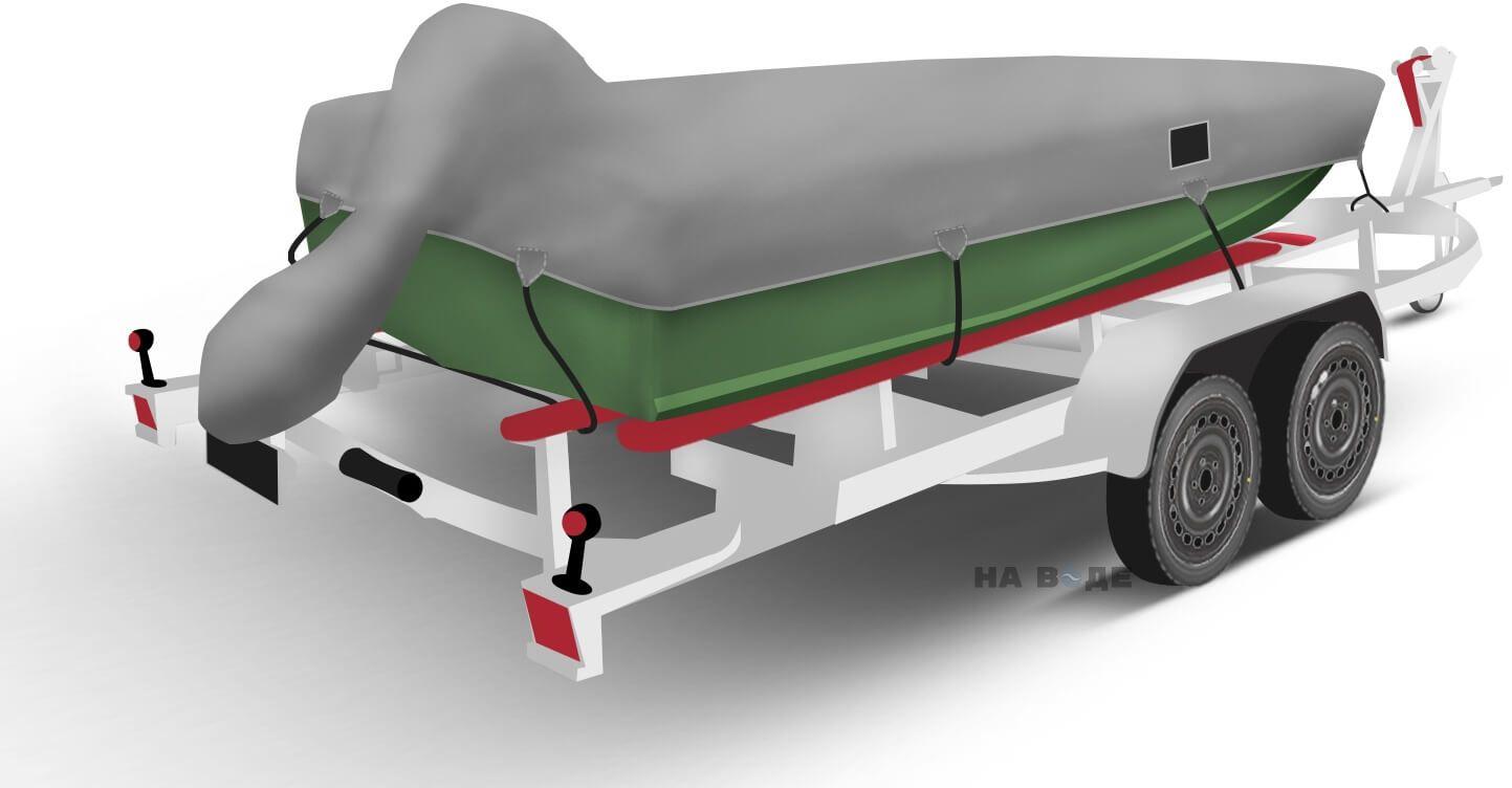 Транспортировочный тент на лодку Тактика 370 комплектация C накрытием мотора - фото 2