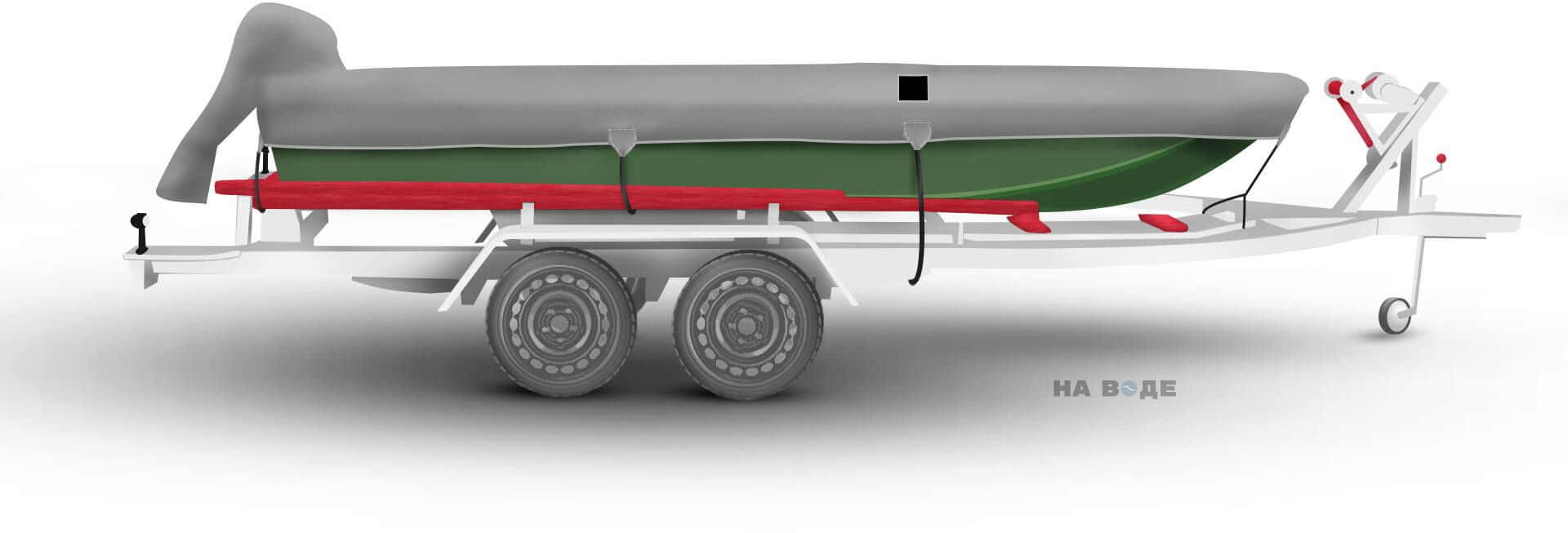 Транспортировочный тент на лодку Тактика 370 комплектация C накрытием мотора - фото 3