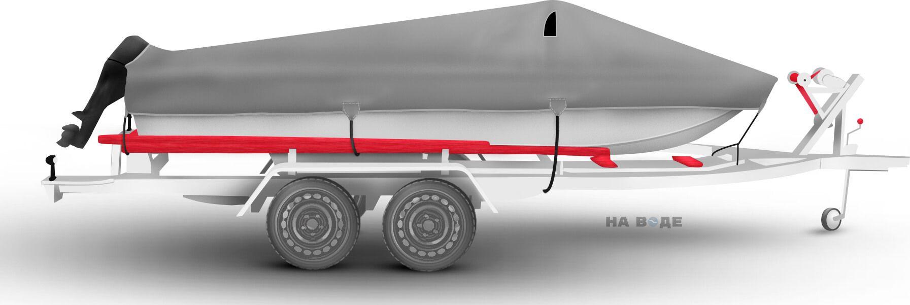 Транспортировочный тент на лодку Сарепта без рубки комплектация C кулисой для мотора - фото 3