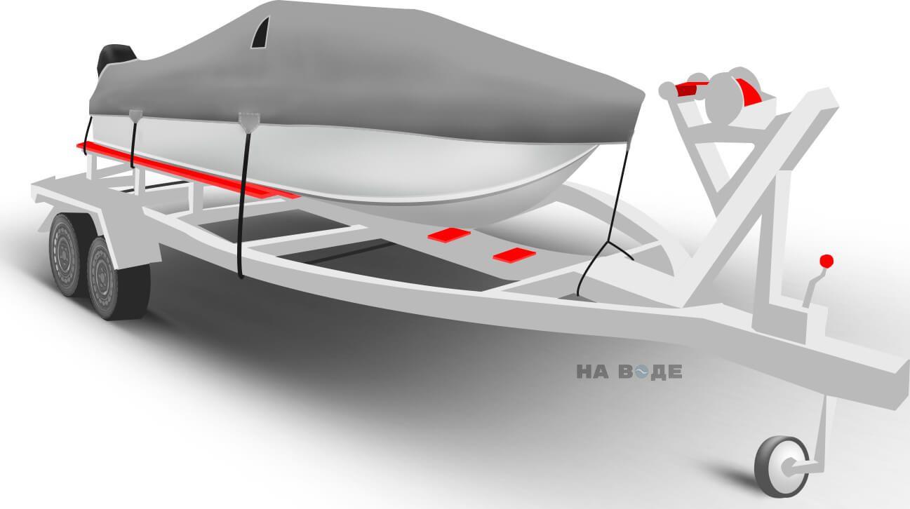 Транспортировочный тент на лодку Сарепта без рубки комплектация C кулисой для мотора - фото 1