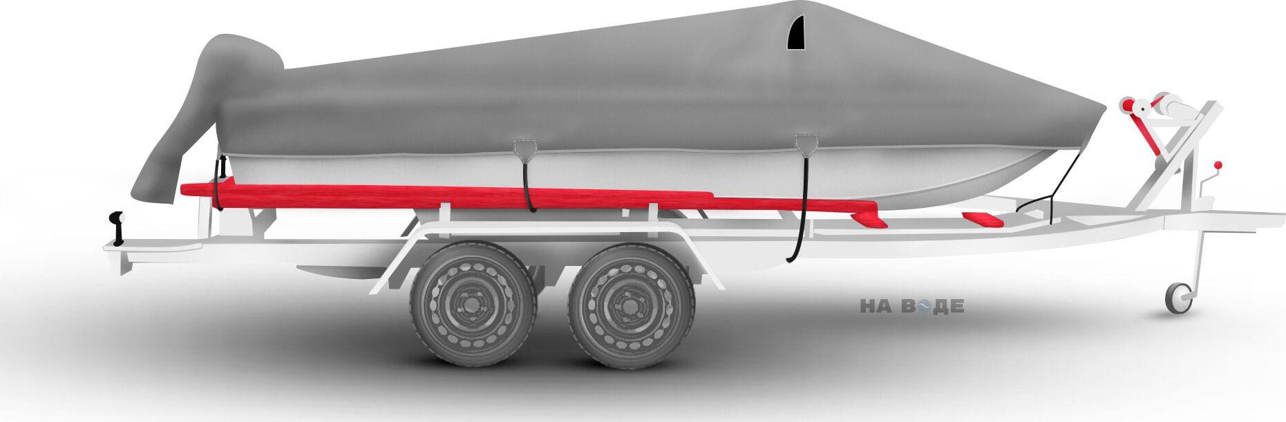 Транспортировочный тент на лодку Сарепта без рубки комплектация C накрытием мотора - фото 3