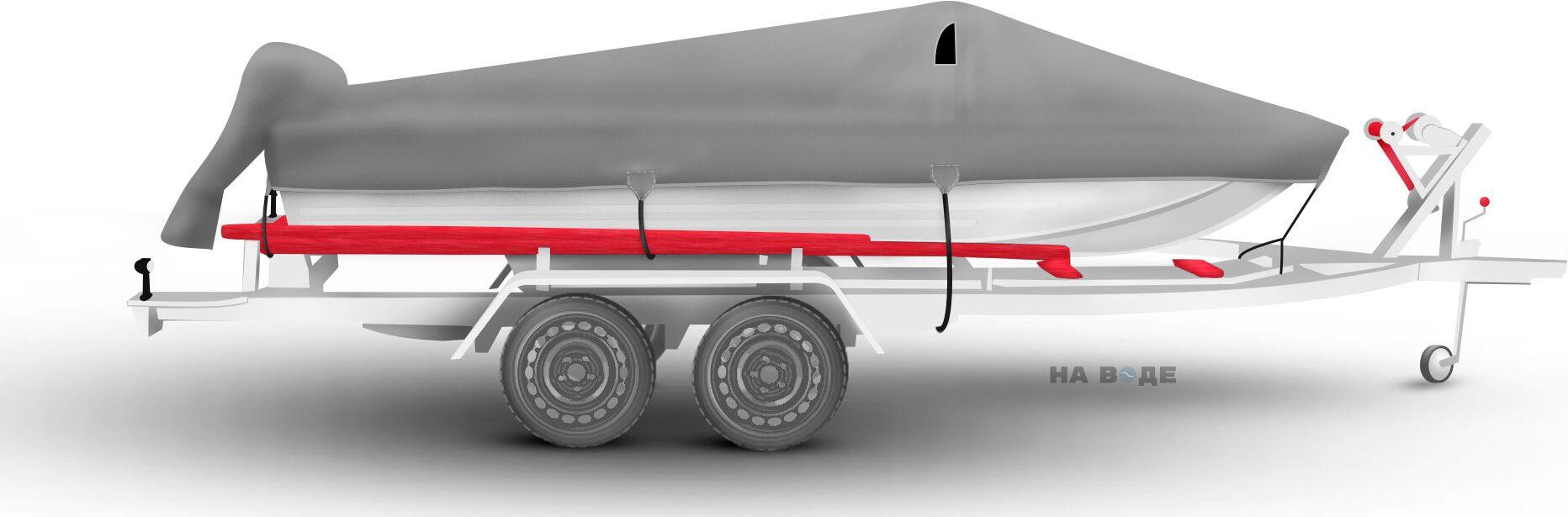 Транспортировочный тент на лодку Южанка-2 комплектация C накрытием мотора - фото 3