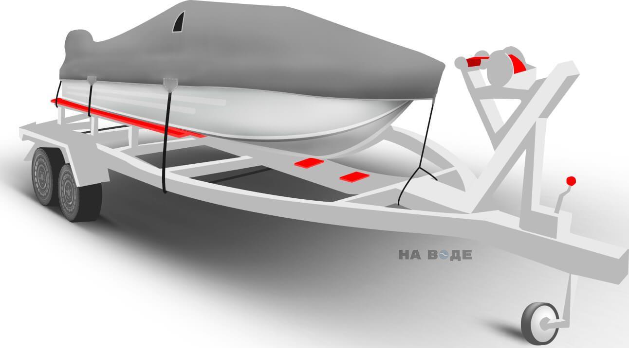 Транспортировочный тент на лодку Южанка-2 комплектация C накрытием мотора - фото 1