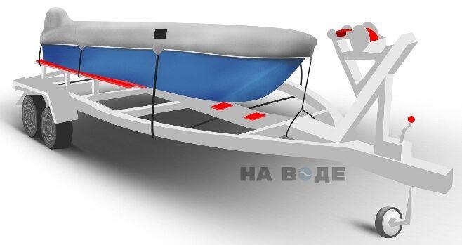Транспортировочный тент на лодку Прогресс-2 комплектация C накрытием мотора - фото 1