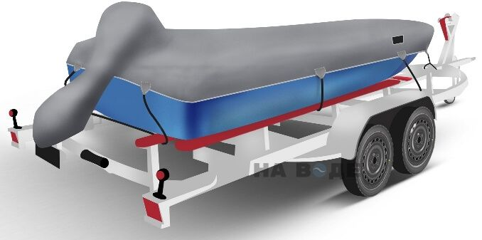 Транспортировочный тент на лодку Прогресс-2 комплектация C накрытием мотора - фото 2