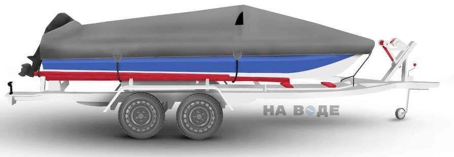 Транспортировочный тент на лодку Обь-М комплектация C кулисой для мотора - фото 3