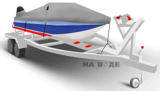 Транспортировочный тент на лодку Обь-М комплектация C кулисой для мотора - фото 1