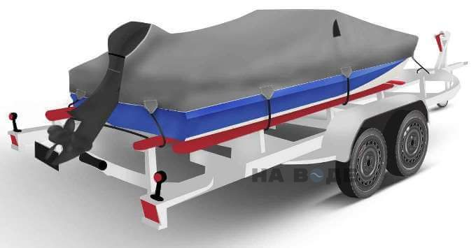 Транспортировочный тент на лодку Обь-М комплектация C кулисой для мотора - фото 2