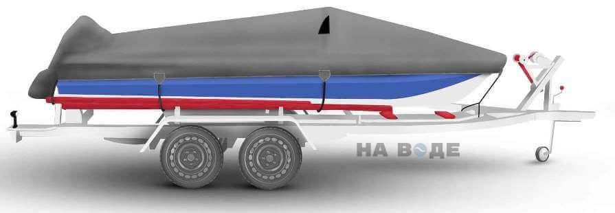 Транспортировочный тент на лодку Обь-М комплектация C накрытием мотора - фото 3