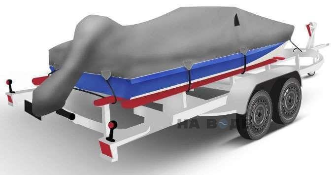Транспортировочный тент на лодку Обь-М комплектация C накрытием мотора - фото 2