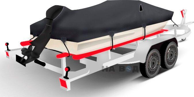 Транспортировочный тент на лодку Обь-3 комплектация C кулисой для мотора - фото 2