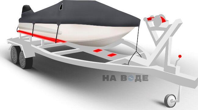 Транспортировочный тент на лодку Обь-3 комплектация C кулисой для мотора - фото 1