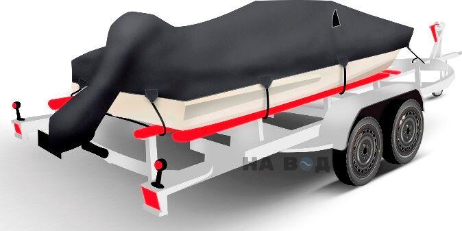 Транспортировочный тент на лодку Обь-3 комплектация C накрытием мотора - фото 2