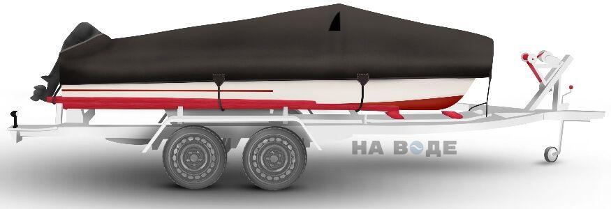 Транспортировочный тент на лодку Обь-1 комплектация C кулисой для мотора - фото 3