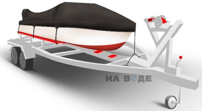Транспортировочный тент на лодку Обь-1 комплектация C кулисой для мотора - фото 1