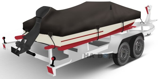 Транспортировочный тент на лодку Обь-1 комплектация C кулисой для мотора - фото 2