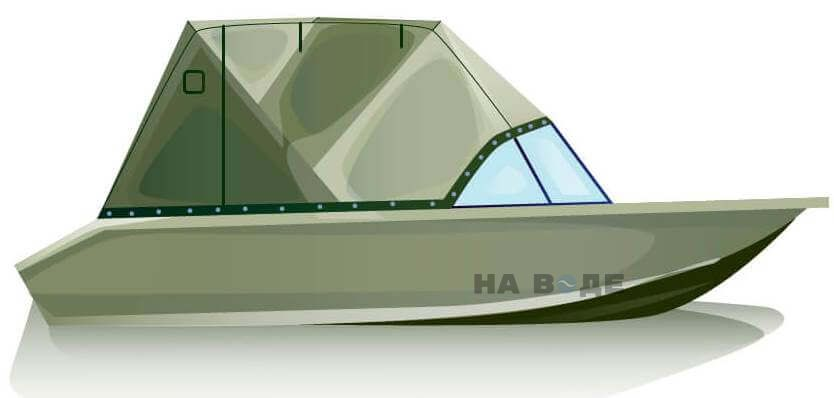 Ходовой тент на лодку Волжанка-46 (Классик) комплектация Эконом - фото 1