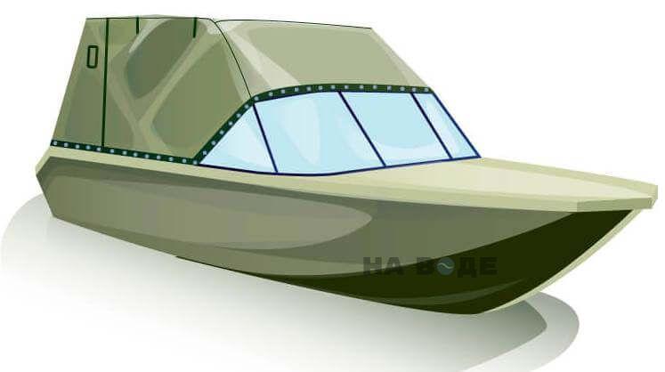 Ходовой тент на лодку Волжанка-46 (Классик) комплектация Эконом - фото 2