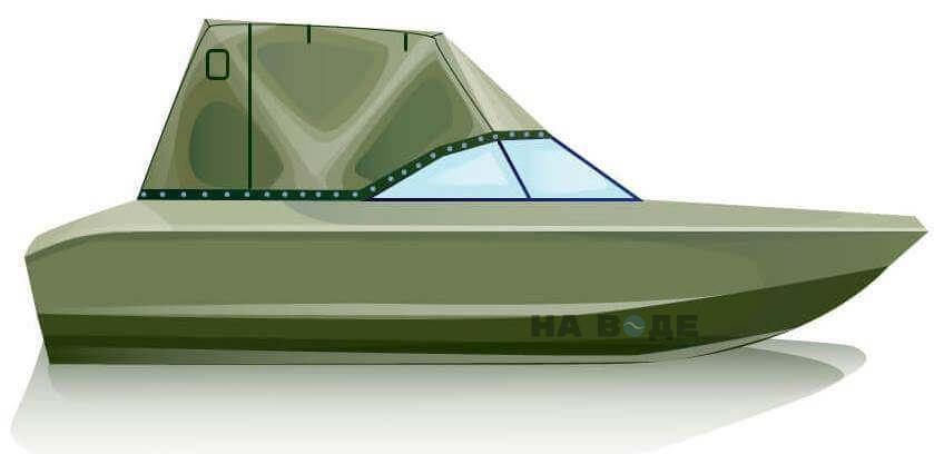 Ходовой тент на лодку Волжанка 51 (Фиш) комплектация Эконом - фото 1