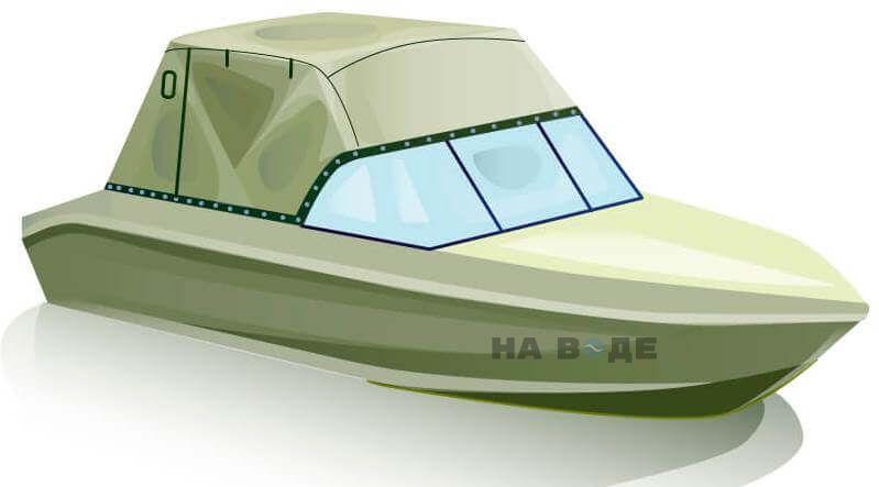 Ходовой тент на лодку Волжанка 51 (Фиш) комплектация Эконом - фото 2