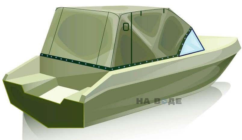 Ходовой тент на лодку Волжанка 51 (Фиш) комплектация Эконом - фото 3