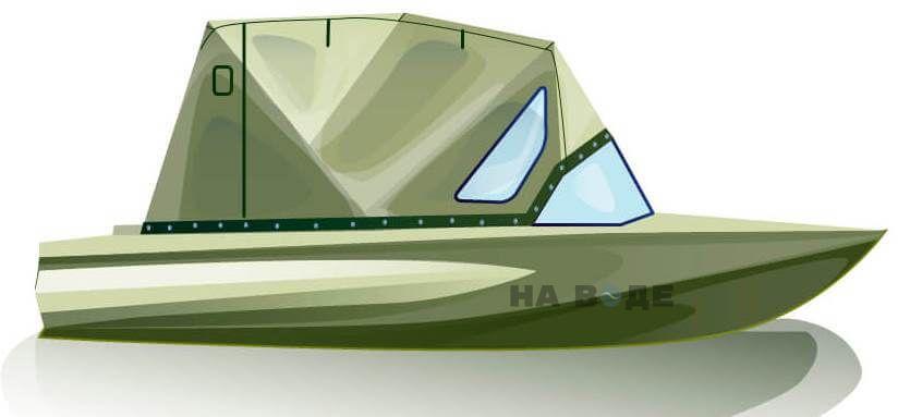 Ходовой тент на лодку Обь-1 комплектация Стандарт - фото 1