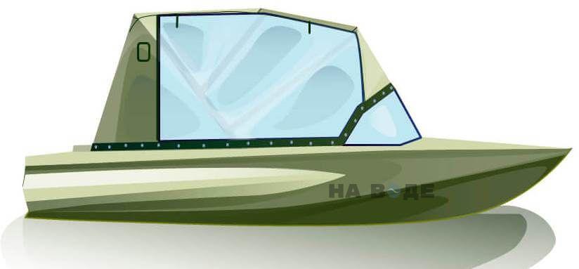 Ходовой тент на лодку Обь-1 комплектация Капитан - фото 1
