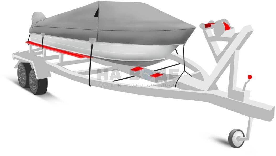 Транспортировочный тент на лодку Quintrex 475 Coast Runner комплектация с накрытием мотора - фото 2