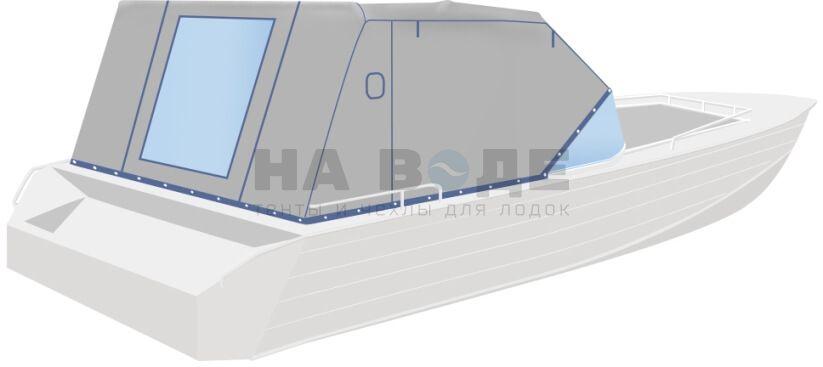 Ходовой тент на лодку Wyatboat-430 DCM комплектация Эконом - фото 3