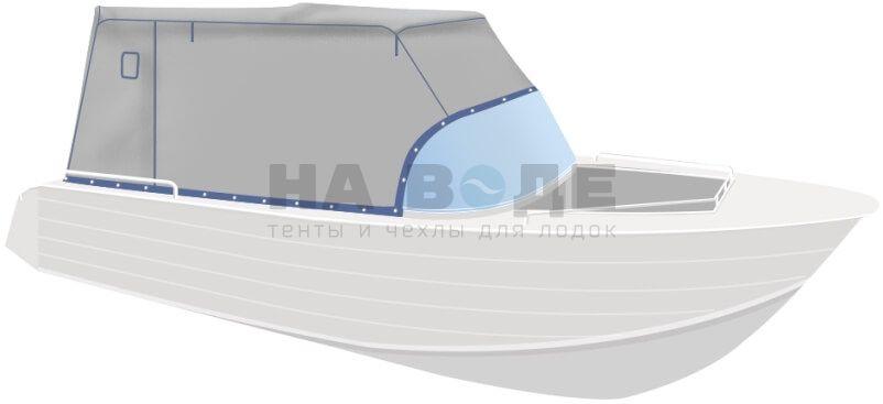 Ходовой тент на лодку Wyatboat-430 DCM комплектация Эконом - фото 2