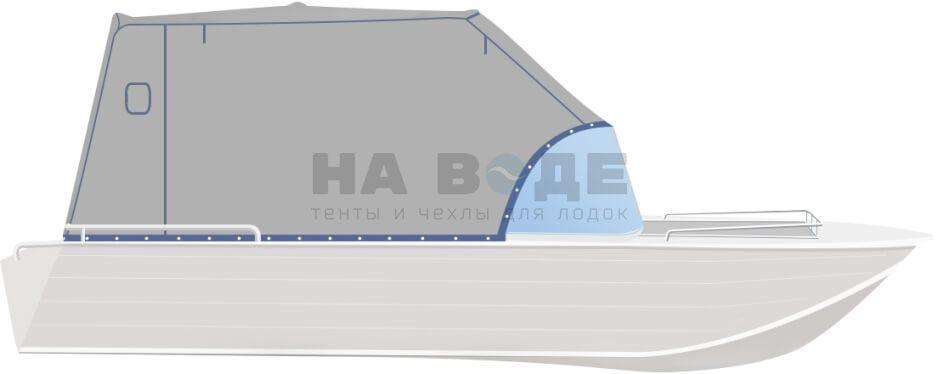 Ходовой тент на лодку Wyatboat-430 DCM комплектация Эконом - фото 1