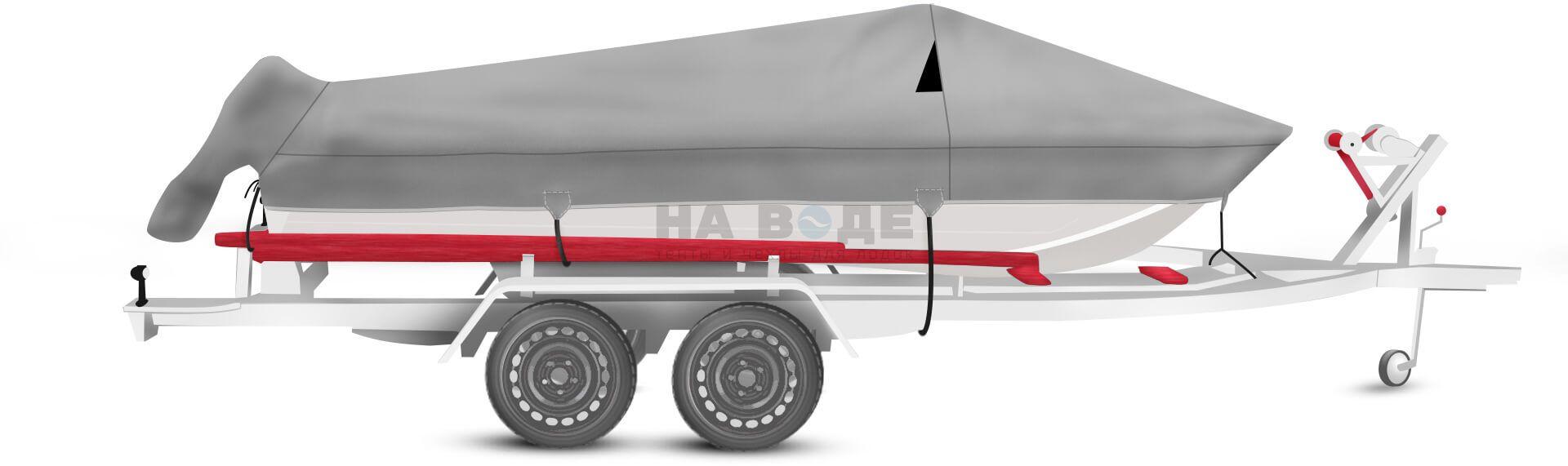 Транспортировочный тент на лодку Wyatboat-430 DCM комплектация с накрытием мотора - фото 1