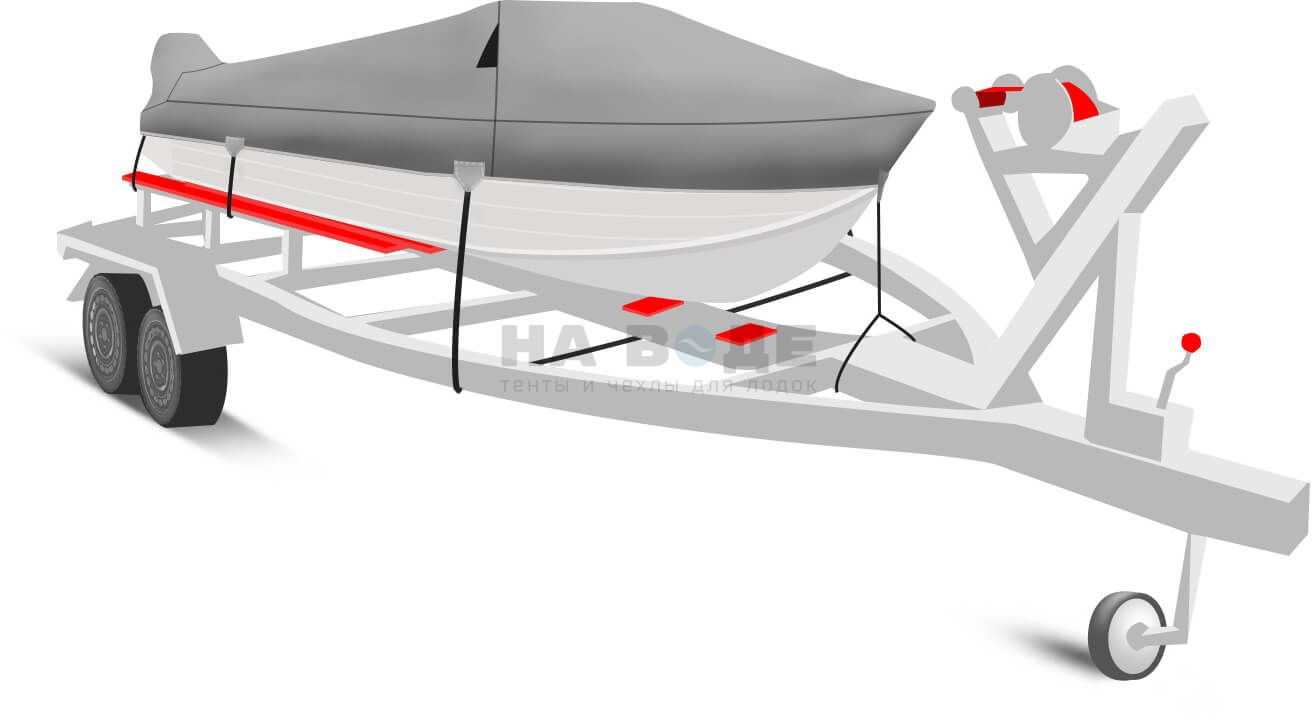 Транспортировочный тент на лодку Wyatboat-430 DCM комплектация с накрытием мотора - фото 2