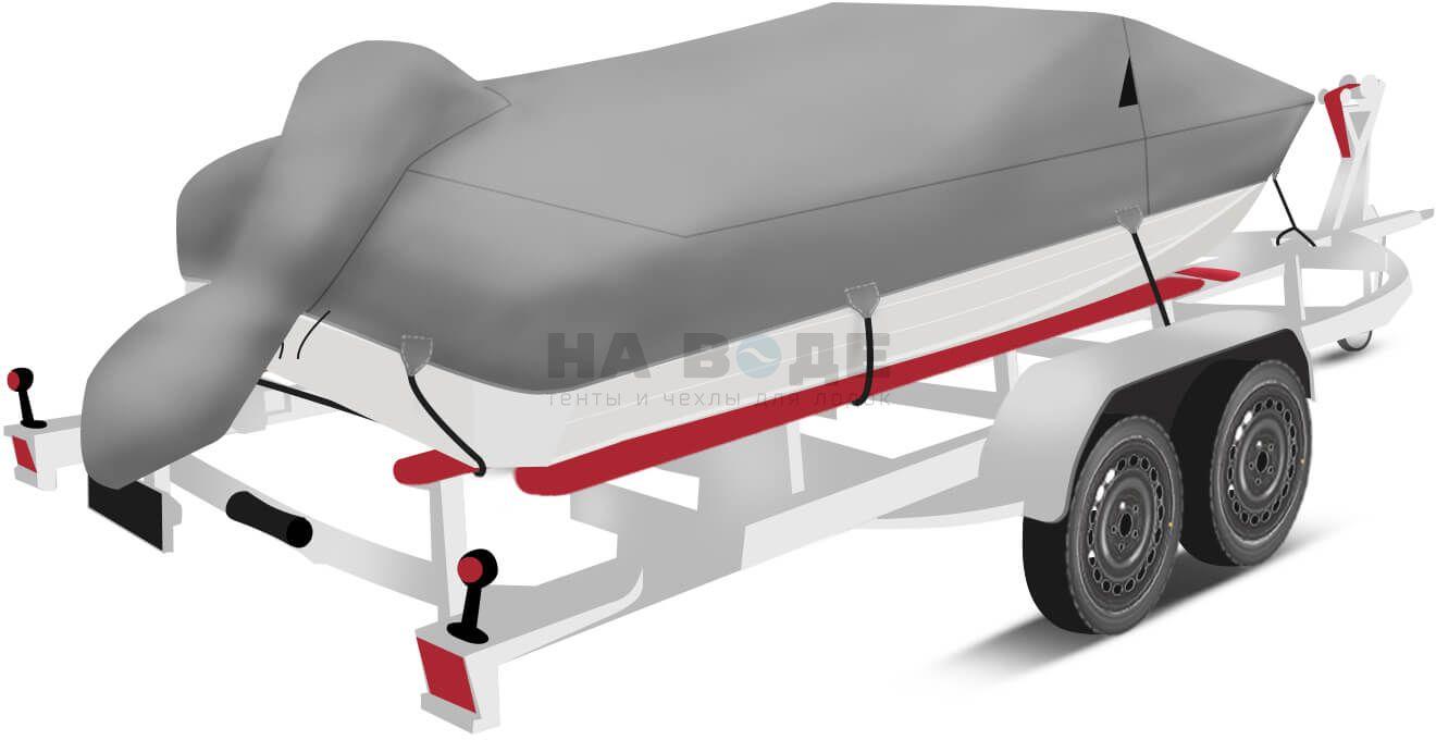 Транспортировочный тент на лодку Wyatboat-430 DCM комплектация с накрытием мотора - фото 3
