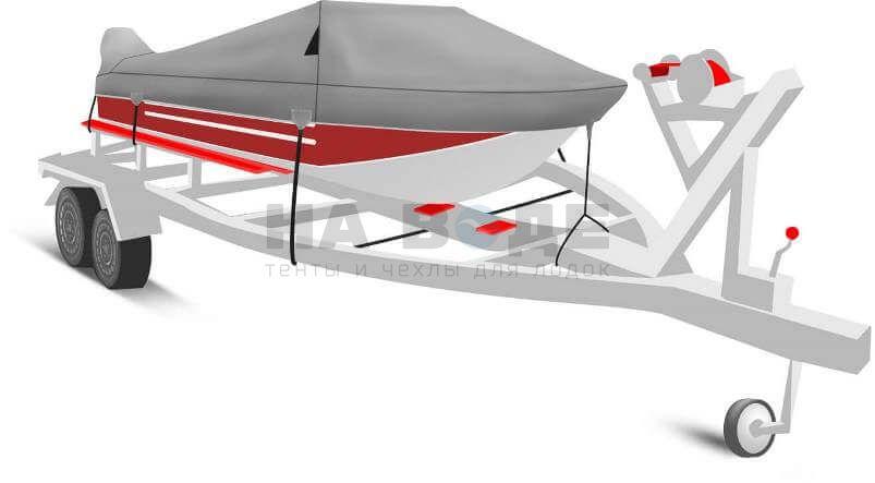 Транспортировочный тент на лодку Ока 4 комплектация с накрытием мотора - фото 1